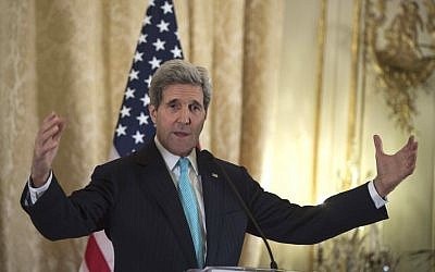 US Secretary of State John Kerry speaks to the press at the US ambassador's residence in Paris on November 5, 2014. (photo credit: AFP PHOTO/POOL / NICHOLAS KAMM)