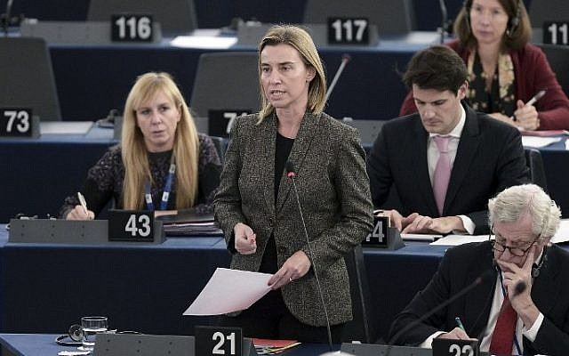 European foreign policy chief Federica Mogherini (C) speaks during a debate on the recognition of Palestinian statehood, on November 26, 2014 at the European Parliament in Strasbourg, eastern France. (photo credit: AFP/Frederick Florin)