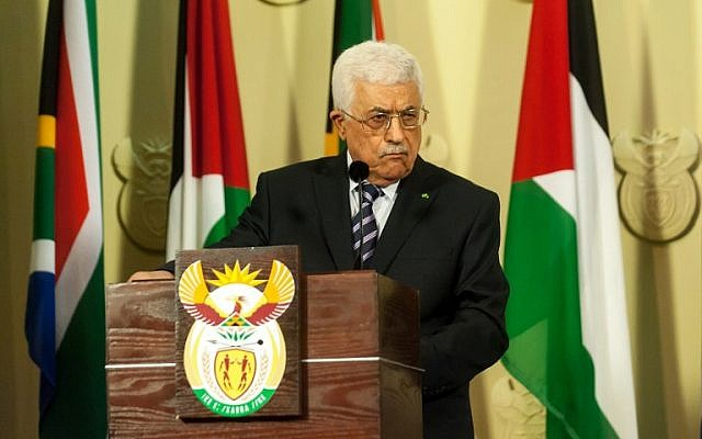Palestinian leader Mahmoud Abbas gives a press conference following his meeting with South African president, on November 26, 2014, in Pretoria, as part of his first official visit to South Africa. (photo credit: AFP PHOTO/STEFAN HEUNIS)