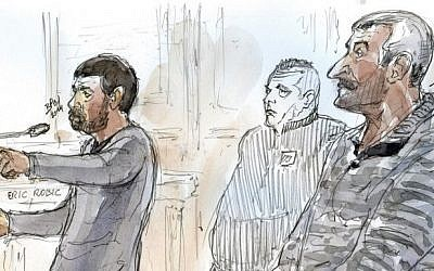 A court sketch shows French defendants Eric Robic (L) and Claude Khayat (R) standing trial on November 27, 2014 at the courtroom in Paris on charges of a hit-and-run road accident in Tel Aviv that killed a young Israeli woman, Lee Zeitouni, a 25-year-old pilates instructor, and sparked outrage in Israel after the pair fled to France. (Photo credit: AFP/ BENOIT PEYRUCQ)