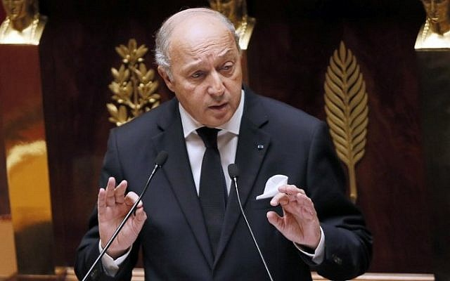 French Foreign Affairs minister Laurent Fabius at the French National Assembly in Paris, November 28, 2014 (Photo credit: Patrick Kovarick/AFP)