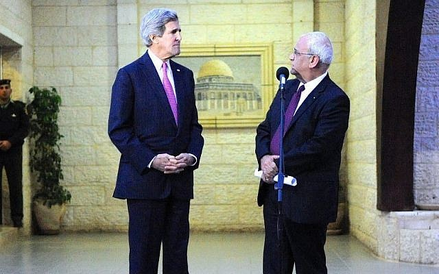 Palestinian Authority lead negotiator Saeb Erekat, right, and US Secretary of State John Kerry in Ramallah, West Bank, on January 4, 2013. (State Department)