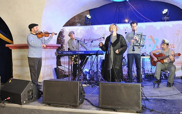 Klezmasters spread the cheer at Limmud FSU Lviv, Friday, November 7, 2014. (photo credit: Yossi Aloni)