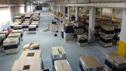 Ebola medical supplies readied for shipment at Afya's temporary warehouse in New Jersey. (Courtesy)