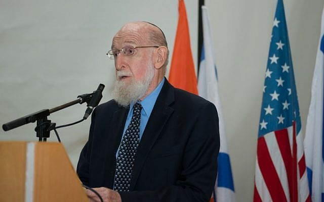 Dr. Shimon Glick speaks at Physician's Oath Ceremony - The Class of 2018 of Ben-Gurion University of the Negev's Medical School for International Health. (photo credit: Dani Machlis)