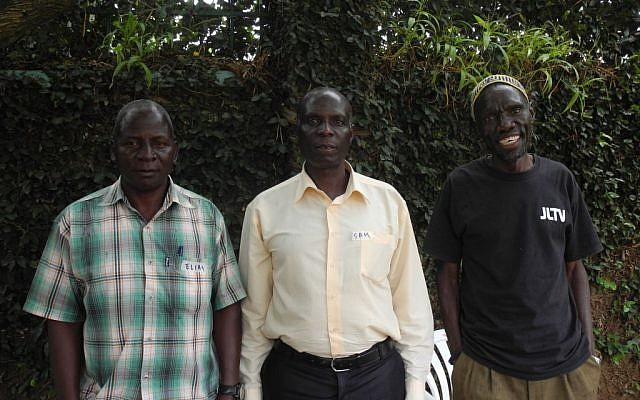 The top leadership of Delicious Peace has a representative from every religion. From left to right, Elias Hasulube is Muslim, Samuel Ngugo is Christian, and JJ Keki is Jewish.  (Melanie Lidman/Times of Israel)