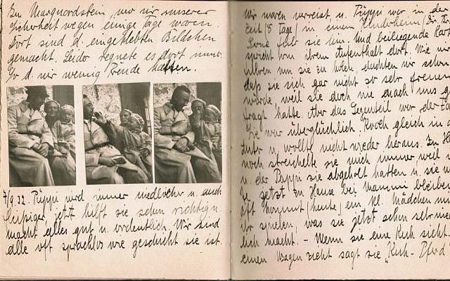 Gudrun Himmler's baby book, with photos of her and her parents. (Courtesy of Kino Lorber, Ltd.)