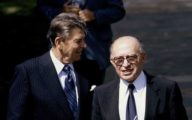 US president Ronald Reagan, left, and Israeli prime minister Menachem Begin, 1981. (photo credit: AP)