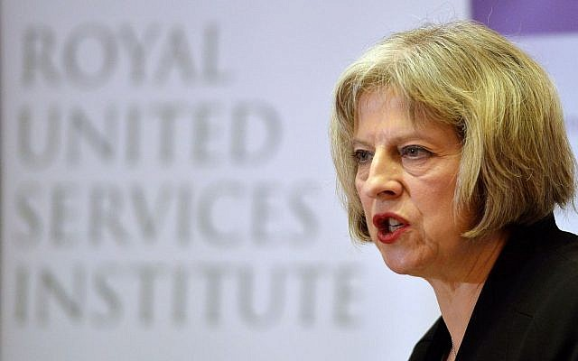 Britain's Home Secretary Theresa May speaks during the counter-terrorism awareness week conference at the Royal United Services Institute in London Monday Nov. 24, 2014 (AP/John Stillwell/PA)