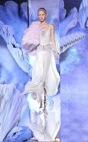 Ralph Lauren's silk gown with Swarovski beads was designed in 2012 (photo credit: Yaki Halperin)