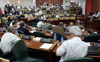Illustrative: Palestinian lawmakers attend an emergency session at the Palestinan Legislative Council in the West Bank city of Ramallah, July 11, 2007 (Ahmad Gharabli/Flash90)