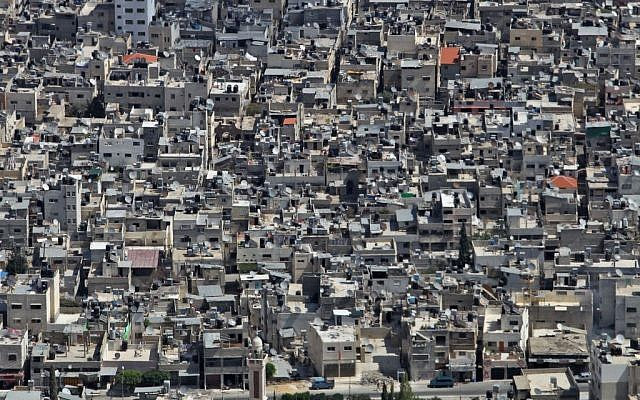 A view of the crowded Balata refugee camp in Nablus. Balata is the largest refugee camp in the West Bank, housing some 30 000 people. (Photo credit: Nati Shohat/FLASH90)
