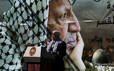 Palestinian Authority President Mahmoud Abbas addresses a rally commemorating the fifth anniversary of Yasser Arafat's death in the West Bank city of Ramallah, 2009. (photo credit: Issam Rimawi/Flash 90, file)