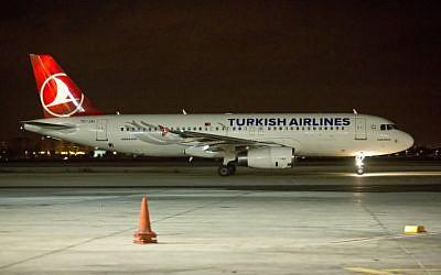Illustrative photo of Turkish Airlines planes on a runway (Moshe Shai/Flash90)