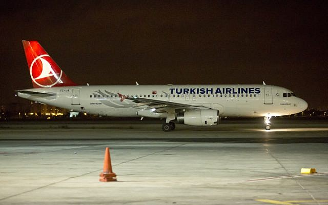 Illustrative photo of Turkish Airlines planes on a runway (Moshe Shai/Flash90)