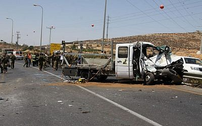 Illustrative photo of a car crash in the West Bank near Hebron in August 2013. (photo credit: Gershon Elinson/Flash90)