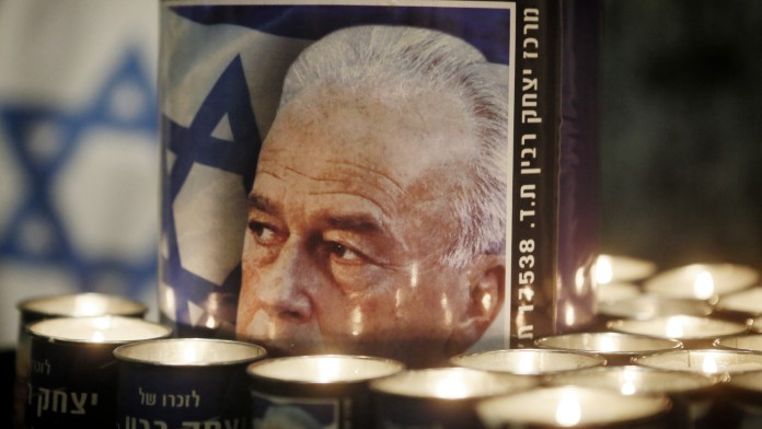 A picture of late Israeli Prime Minister Yitzhak Rabin, at a memorial ceremony to commemorate the18th anniversary of Rabin's assassination, on October 15, 2013. (Photo credit: Miriam Alster/FLASH90)