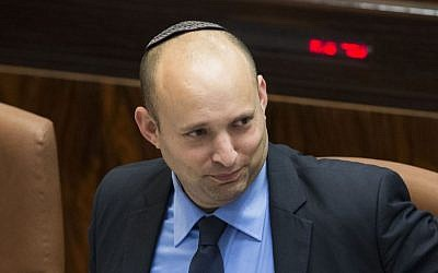 Economy Minister Naftali Bennett in the Knesset plenum, October 27, 2014 (photo credit: Yonatan Sindel/Flash90)