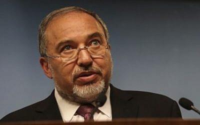 Foreign Minister Avigdor Liberman on November 3, 2014. (photo credit: Hadas Parush/Flash90)