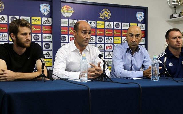 Martin Bain (2nd from left), CEO of Maccabi Tel Aviv Football Club speaks during a press conference in Tel Aviv on November 4, 2014. (photo credit: Flash90)