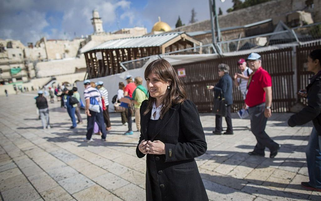 Likud MK Tzipi Hotovely at the Western Wall in  Jerusalem on her way to visit the Temple Mount, November 4, 2014 (photo credit: Yonatan Sindel/Flash90)