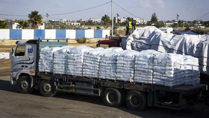 Truck at the Kerem Shalom Crossing in Rafah, southern Gaza Strip, on Nov. 5, 2014 (photo credit: Abed Rahim Khatib/Flash90)
