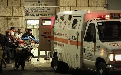 Israeli soldiers are evacuated at the Hadassah Ein Kerem hospital in Jerusalem after being run over by a Palestinian driver rnear the West Bank village of Al Aroub close to the Gush Etzion junction, outside of Jerusalem. (Photo credit: Hadas Parush/Flash90)