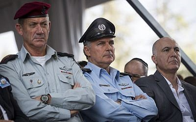 IDF Chief of Staff Benny Gantz , left,  police chief Yohanan Danino, center, and Shin Bet head Yoram Cohen at a memorial service marking 19 years since the assassination of Yitzhak Rabin in Jerusalem on November 05, 2014. (Photo credit: Miriam Alster/Flash90)
