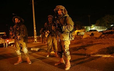 Illustrative photo of IDF soldiers near the Gush Etzion Junction, south of Jerusalem, November 5, 2014. (Nati Shohat/Flash90)