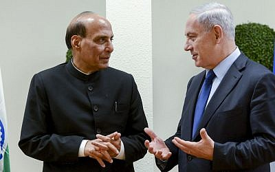 Prime Minister Benjamin Netanyahu (R) meets with Indian Minister of Home Affairs Shri Rajnath Singh (Photo credit: Kobi Gideon / GPO/ FLASH90