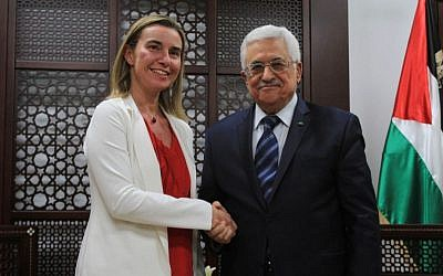 Palestinian Authority President Mahmoud Abbas meets the European Union's new foreign policy chief Federica Mogherini in Ramallah on November 8, 2014. (Photo credit: STR/Flash90)