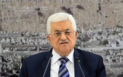 Palestinian Authority President Mahmoud Abbas speaks during a meeting with members of the Palestinian leadership on November 8, 2014, in the West Bank city of Ramallah. (photo credit: STR/Flash90)