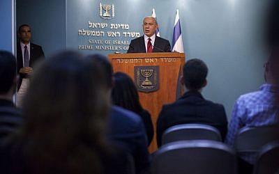 Prime Minister Benjamin Netanyahu at a press conference at the Prime Minister's Office in Jerusalem on November 18, 2014, hours after the Har Nof synagogue attack. (Photo credit: Yonatan Sindel/Flash90)