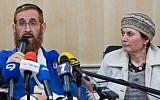 File: Yehudah Glick and his wife at a press conference at the Shaare Zedek Medical Center in Jerusalem on November 24, 2014 (photo credit: Yonatan Sindel/Flash90)