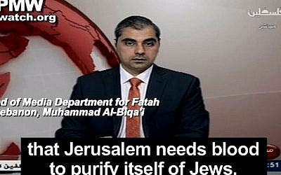 Muhammad al-Biqa'i, head of the Media Department for Fatah in Lebanon, November 7, 2014 (screen capture: YouTube/palwatch)