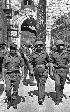 Gen. Uzi Narkiss (left), Defense Minister Moshe Dayan and Chief of staff Yitzhak Rabin in the Old City of Jerusalem during the Six-Day War (photo credit: Ilan Bruner/Wikipedia)