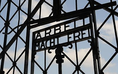 The entrance gate of the former Nazi concentration camp in Dachau near Munich, southern Germany, with the slogan 'Arbeit Macht Frei.' (AP/Christof Stache, File)