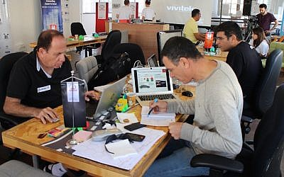Hacking away at the Toyota Israel Tech Center event (Photo credit: Courtesy)
