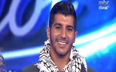 Haitham Khalaily during a performance on Arab Idol, Sep 26, 2014 (photo credit: Youtube screenshot)