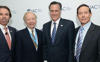 From left to right, IAC National Chairman Shawn Evenhaim; Senator Joe Lieberman; Govenor Mitt Romney, and IAC National Board Member Adam Milstein. (Courtesy)