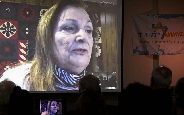Holocaust survivor Krystyna Chiger (now Kristina Keren) speaks via Skype to participants at Limmud Lviv, Ukraine, Friday, November 7, 2014. (photo credit: Yossi Aloni)
