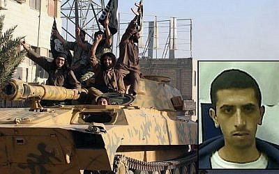 Fighters from the al-Qaida-linked Islamic State group parade in Raqqa, Syria; inset: Hamza Magamzeh, an Israeli citizen suspected of joining the radical group (composite photo: AP/Shin Bet)
