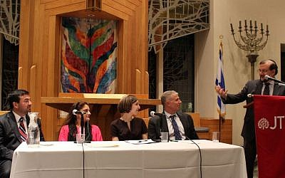 An interfaith panel at the Jewish Theological Seminary in New York in 2013. (photo credit:  JTA/ Courtesy of the Jewish Theological Seminary)