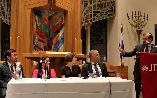 Burton Visotzky speaks to an interfaith panel at the Jewish Theological Seminary in New York last year. (photo credit:  JTA/ Courtesy of the Jewish Theological Seminary)