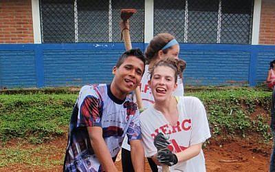 Jade Marcus working with a Nicaraguan teen. (Courtesy of Jade Marcus/JTA)