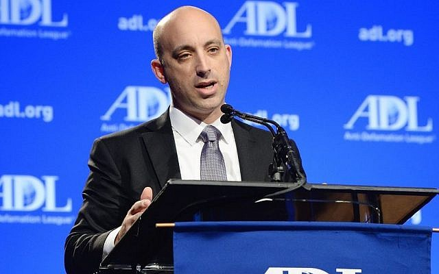 Jonathan A. Greenblatt, the national director of the Anti-Defamation League, speaks at the ADL Annual Meeting in Los Angeles on November 6, 2014 (courtesy ADL)
