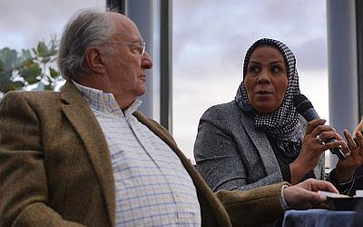 Latifa Ibn Ziaten and CRIF President Roger Cukierman at the CRIF national convention in Paris, Nov. 16, 2014. (Cnaan Liphshiz/JTA)
