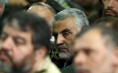 Chief of the Quds Force of Iran's Revolutionary Guards, Qasem Soleimani, attends a meeting of the commanders of the Revolutionary Guards in Tehran, Iran, September 17, 2013. (photo credit: AP/Office of the Iranian Supreme Leader, File)