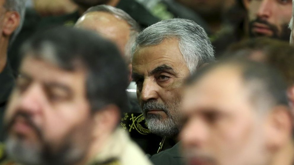 Chief of the Quds Force of Iran's Revolutionary Guards, Qassem Soleimani, attends a meeting of the commanders of the Revolutionary Guards in Tehran, Iran, September 17, 2013. (photo credit: AP/Office of the Iranian Supreme Leader, File)