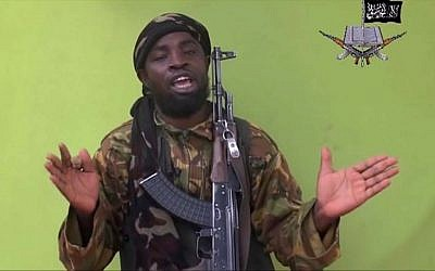 Nigeria's Boko Haram leader Abubakar Shekau in a video from May 12, 2014 (Photo credit: AP Photo/File)